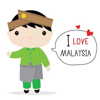 マレーシアメンズナショナルドレス漫画ベクトル