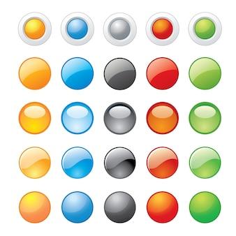 ベクトルイラストウェブサイトのための光沢のあるガラスのボタンのアイコン