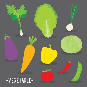 野菜料理の料理漫画ベクトル