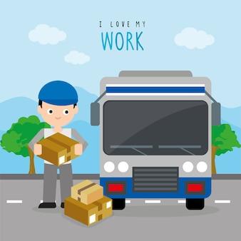 貨物サービス納入カートンボックストラック車ボーイ漫画キャラクターベクター