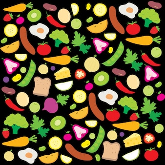 有用なビタミン漫画ベクトルを食べる健康な果物野菜ダイエット
