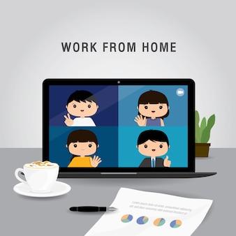 自宅で仕事をする、ビジネスチームはビデオ会議のオンライン会議にラップトップを使用しています。自宅で検疫している人。キャラクター漫画イラスト