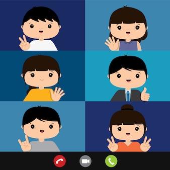 Работа на дому, бизнес-команда, используя ноутбук для онлайн-встречи в конференц-видео звонок. люди дома в карантине. персонаж из мультфильма