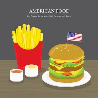 伝統的なアメリカ料理のセット、ビッグチーズバーガーとフライドポテトとソース。漫画イラスト