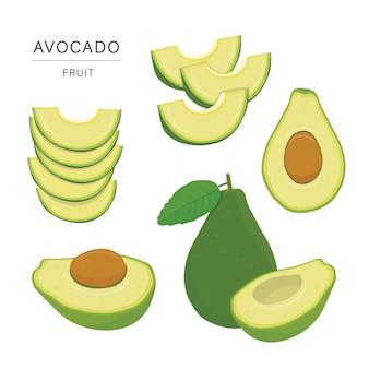アボカドフルーツスライスのセットです。有機的で健康的な食品は、要素の図を分離しました。