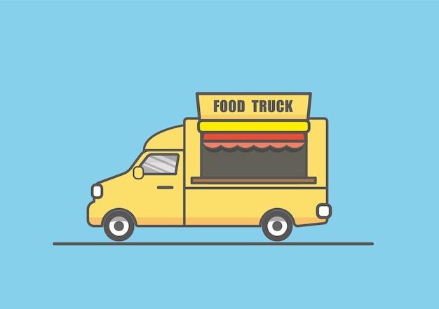 フラットな黄色の食品トラックのラインアートのイラスト