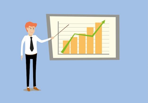 若い、ビジネスマン、プレゼンテーション、ポイント、ポイント、グラフ、棒グラフ