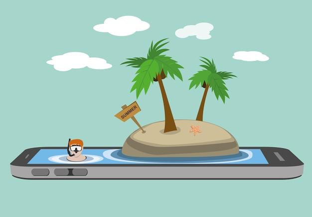 スマートフォンのモバイル画面で海の熱帯島のビーチでシュノーケリングする男
