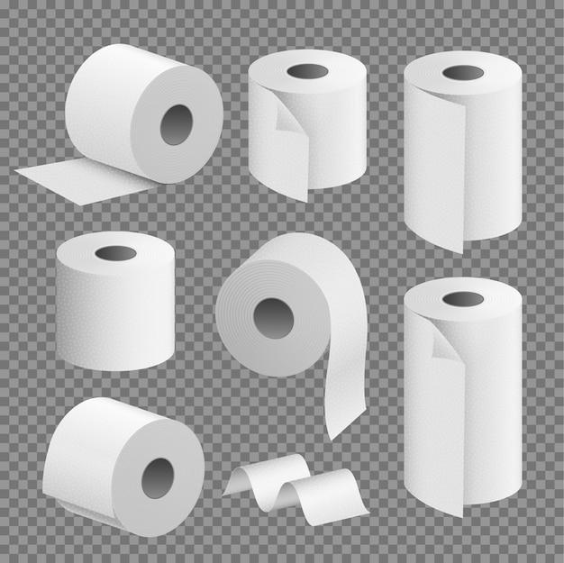 トイレットペーパーロールティッシュ。トイレタオルアイコンは、現実的なイラストを分離しました。キッチントイレットテープ紙