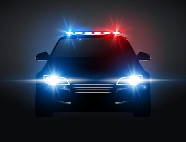 夜の正面図でパトカーライトサイレン。フラッシャーとパトロール警官緊急パトカーシルエット
