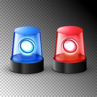 Красный синий мигающий полицейский сигнал тревоги. полицейская световая сирена, аварийное оборудование. опасность вспышки скорой помощи маяка