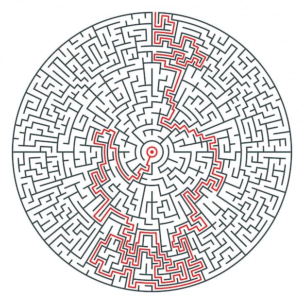 Абстрактный вектор круглый лабиринт высокой сложности