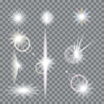 レンズフレアの透明な背景に設定