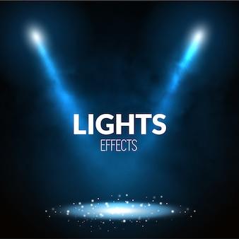 Прожекторы прожекторов освещают сцену светящимися частицами