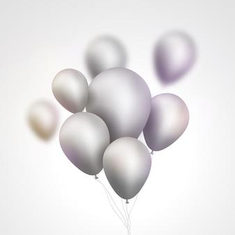 Серебряная иллюстрация кучи воздушных шаров