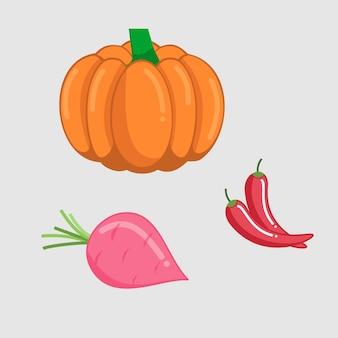 収穫ベクトルデザインの健康な新鮮な野菜