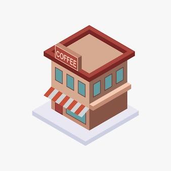 Изометрический кофейный магазин