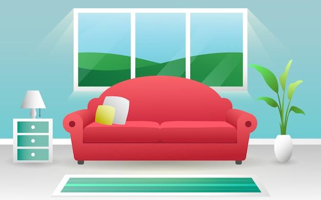 新鮮なきれいな色のモダンなリビングルームのインテリアコンセプトベクトルデザイン