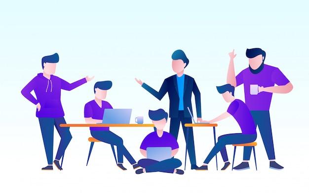 プロジェクトを議論するチームワーク。ノートパソコンのベクトル設計図で働く人々