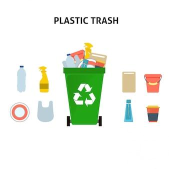 プラスチック製のゴミ箱イラストセットをリサイクルします。