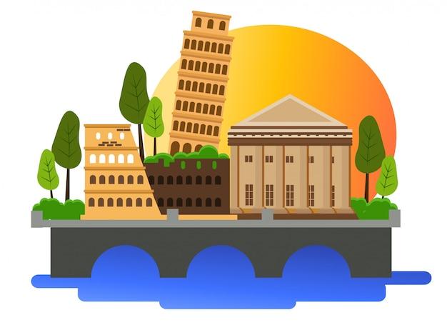 Шаблон иллюстрации дизайна страны италии
