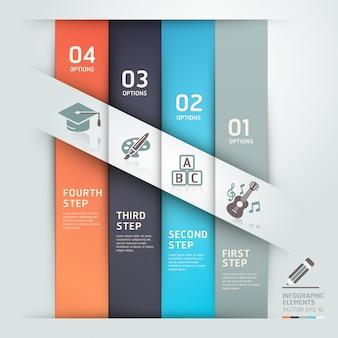 現代教育ステップオプションテンプレート折り紙スタイル
