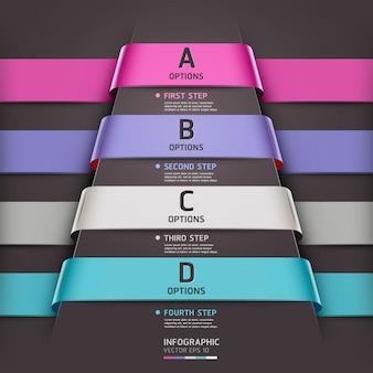 Абстрактный стиль ленты шаблона инфографики может быть использован для разметки рабочего процесса, схемы, параметров чисел, вариантов повышения, веб-дизайна