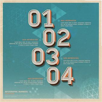 古い紙にレトロな色のオプション番号。ワークフローのレイアウト、図、インフォグラフィックに使用できます。