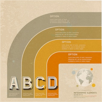 レトロな色オプションワークフローレイアウト、図、インフォグラフィック。