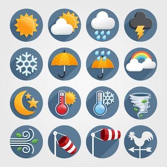 Погода плоские иконки цветовой набор.