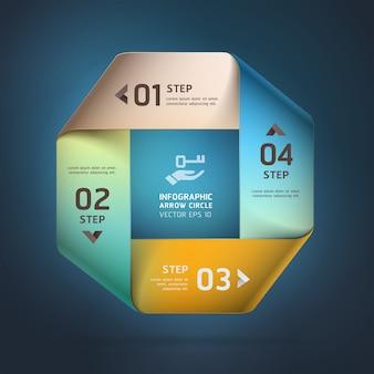 Современные бесконечные квадратные варианты стиля оригами. макет рабочего процесса, схема, параметры шага, веб-дизайн, параметры номера, инфографика.