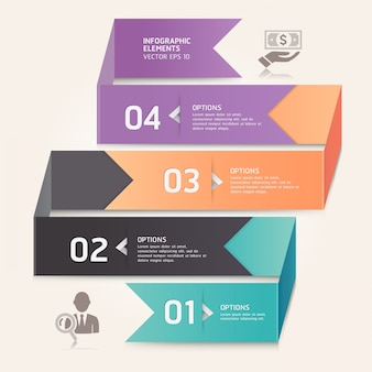 Современные стрелка оригами стиль чисел варианты. макет рабочего процесса, схема, веб-дизайн, инфографика.