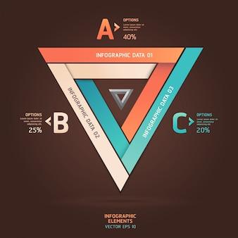 Современные бесконечные треугольники в стиле оригами. макет рабочего процесса, схема, параметры шага, веб-дизайн, параметры номера, инфографика.