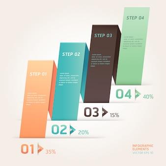 Современный стиль оригами стрелка шаг вверх число вариантов шаблона. макет рабочего процесса, схема, веб-дизайн, инфографика.