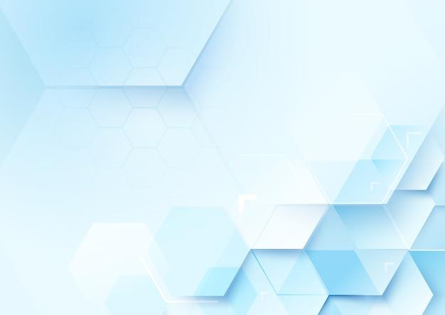 抽象的な六角形と技術コンセプトの背景