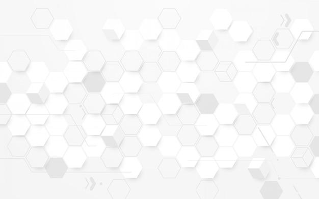 抽象的な白い六角形の幾何学的背景