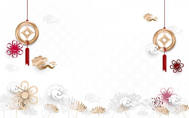 Азиатский традиционный цветочный с китайским новым годом орнамента фон