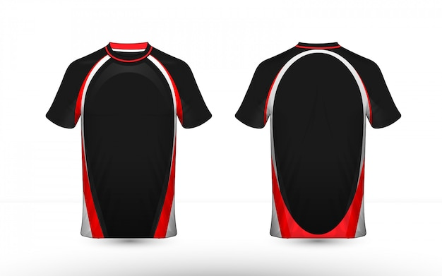 Бело-красный макет киберспортивного дизайна футболки