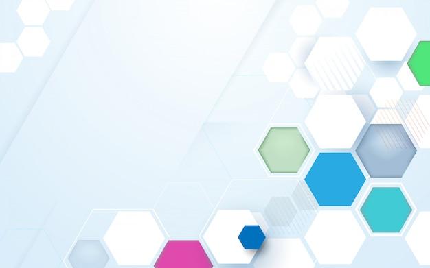 抽象的な色の六角形のハイテク技術の未来的な背景