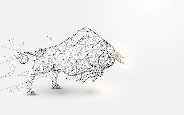 Злой бык. линии, треугольники и дизайн в стиле частиц. вектор иллюстрации