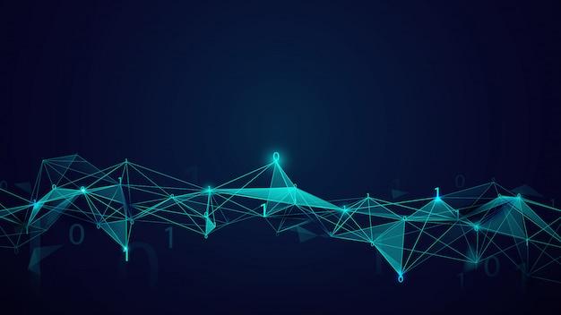 暗い青色の背景上の分子構造とバイナリコード技術。抽象的な接続線と点