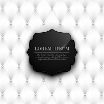 黒のビンテージパターンの背景を持つ抽象的な高級白い革の質感