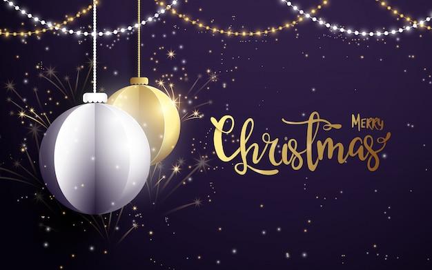 メリークリスマスと幸せな新年のグリーティングカード。