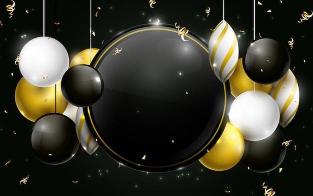 Черные, золотые и белые рождественские шары с черным кружком