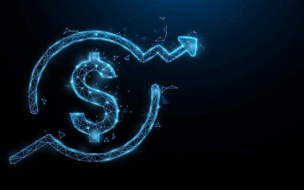 Знак доллара деньги растут формы линии, треугольники и стиль частиц.