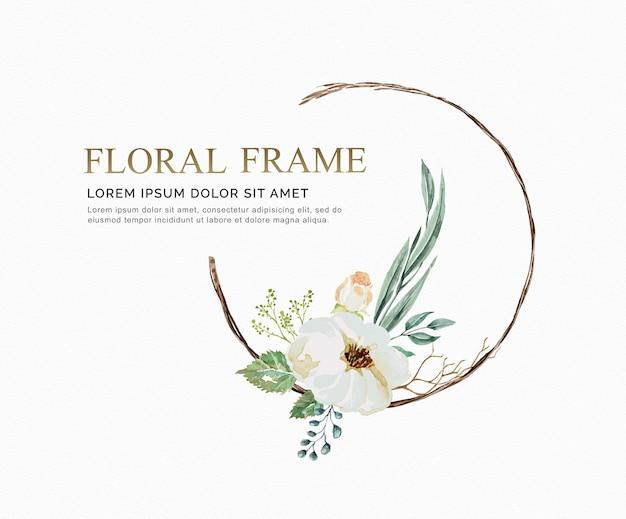 花のフレームの水彩のブドウの花と結婚式のために残すカードを招待する。
