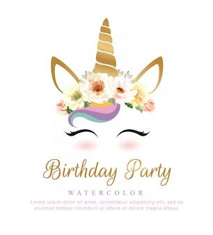 誕生日パーティーのための花の花束とかわいいユニコーンの水彩。