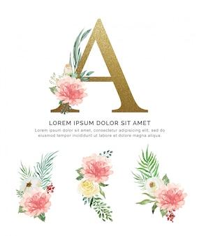 アルファベット花束の花と葉のコレクションの水彩画。