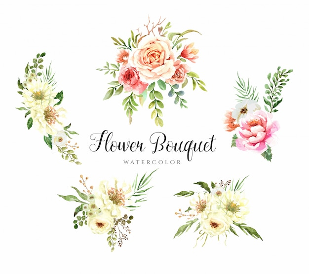 水彩花の花束のコレクション。