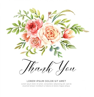 水彩花の花束ありがとうカード。